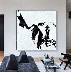 Minimalist Painting, Minimalist Art, Modern Office Decor, Abstract Wall Art, Painting Abstract, Black And White Abstract, Canvas Art, Painting Canvas, Original Art