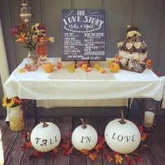 New England Fall Engagement Party Decorations - Fall Engagement Parties, Engagement Party Planning, Engagement Party Decorations, Fall Wedding Decorations, Couples Shower Themes, Couples Shower Decorations, Fall In Love Bridal Shower, Bridal Shower Rustic, Love Wedding Themes