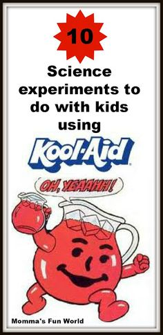 Science experiments for kids using Kool-Aid. I love using kool-aid! Science Experiments Kids, Science Fair, Science Lessons, Science For Kids, Science Activities, Science Projects, Activities For Kids, Crafts For Kids, Science Ideas