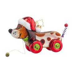 Christopher Radko Ornaments 2015   Radko Pullin' Pup Ornament