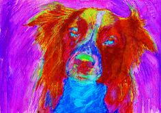 Border Collie Abstract Painting Print Collie dog art print Artist Signed Colorful Collie lover Art Dog painting Red Collie… #dogs #etsy #art