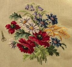 "30"" PREWORKED Needlepoint Canvas - Cabin Country Cottage Poppy Daisy Wild Flower"