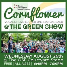 1 WEEK FROM TODAY! Who's ready?! @osfashland http://cflow.co/2015-osfgreenshow #GreenShow #OSF #LiveMusic #LiveLooping #Vocals #Beatbox #JamBand #Soul #Funk #Tribal #AshlandOR #SouthernOregon #OregonShakespeareFestival