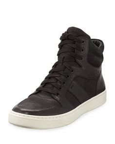 Adam+Leather+High-Top+Sneaker,+Black+by+Vince+at+Neiman+Marcus.