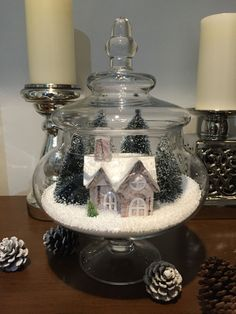 25 DIY Christmas Apothecary Jar Table Decorations – Welcome My World Dollar Store Christmas, Christmas Jars, Christmas Home, Vintage Christmas, Christmas Crafts, Christmas Globes, Christmas Fashion, Xmas, Indoor Christmas Decorations