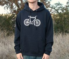 Black Bicycle Hoodie Graphic Design Silk by CounterFitCulture