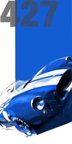 car painting Toyota Designer, Mike Kim, Paints Racing Legends in Spare Time - Petrolicious Toyota, Ac Cobra, King Cobra, Cobra Art, Vintage Racing, Vintage Cars, Car Design Sketch, Garage Art, Car Illustration