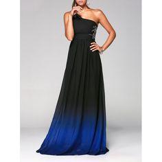 ed8c55ae3a One Shoulder Ombre Long Evening Formal Dress - Deep Blue M