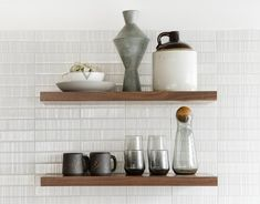 Photo 1 of 4285 in Best Kitchen Photos from Before & After: A Midcentury Portland Kitchen Gets a Light and Bright Makeover - Dwell Wood Shelves, Floating Shelves, Cedar And Moss, Cabinet Companies, Modern, Contemporary, Terrazzo Flooring, Kitchen Photos, Organizer