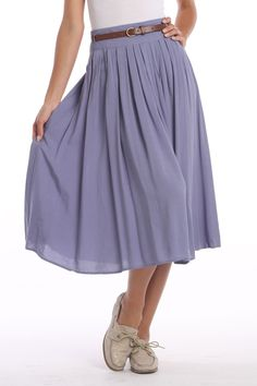 Chantal Paris Mid Length Skirt With Pleat Detail In Blue - $54.99 at Beyond the Rack  cotton, also in other colors. a cool summer skirt