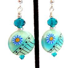Blue Green Earrings Teal Aqua Green Glass by Elegencebyelaine, $25.00