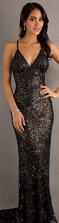 "Fashion long dress #black #glitter  ✮✮""Feel free to share on Pinterest"" ♥ღ www.fashionupdates.net"