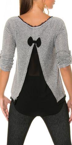 Maxi maglia con fiocco bianco/nera