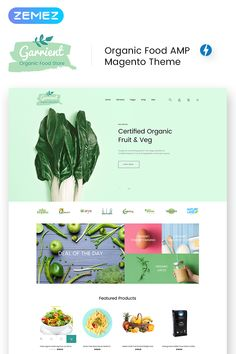 Magento Theme für Bio-Produkte - New Website Templates - Health Benefits Of Organic Food, Organic Fruit, Website Templates, Food Web Design, Organic Restaurant, Restaurant Web, Custom Website Design, Healthy Food Delivery, Food Website