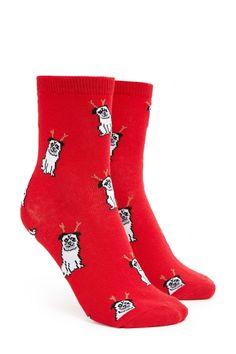 Holiday Pug Crew Socks