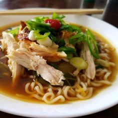 """""""This dish is a total flavor bomb, filled with a rich broth, tender meat, and noodles, topped with a egg – my new favorite thing in the world."""" Tap the link in our bio for the Chicken Ramen Bowl recipe. Ramen Noodle Recipes, Ramen Noodles, Soup Recipes, Cooking Recipes, Recipies, Appetizer Recipes, Chicken Ramen Bowl Recipe, Chicken Recipes, Asian Recipes"""