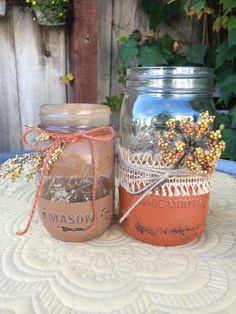 Rustic and Twine Painted Mason Jars set of 2 by TwineandDandy