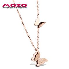 Wholesale New Fashion Women's Jewelry Rose Gold Scrub Stainless Steel Double Butterfly Pendant & Necklace Clavicle Chain MGX996