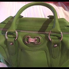 """Michael Kors Lime Green Genuine Leather!! Michael Kors Lime Green Genuine Leather handbag, measurements 15"""" long, 10"""" tall, 5"""" depth and straps 18"""" long!! Great condition Michael Kors Bags Satchels"""