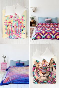 Swooning over these colorful bedspreads.