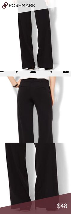 """New!! NY&Co 7th Avenue Wide Leg Black Dress Pants Brand new and never washed or worn. Zip front with hook-and-bar closure. Belt loops. Front pockets. Back welt pockets. Darts below back waistband.  FIT & SIZING Modern Fit - leaner fit. Wide leg. Full length. Sits just below waist. Slimming through hip & thigh. Inseam: 33 inches. Size is 10 Average. Waist measures approx 16"""" laying flat.  FABRIC & CARE 69% Polyester, 29% Viscose, 2% Spandex. Machine Wash. New York & Company Pants Wide Leg"""