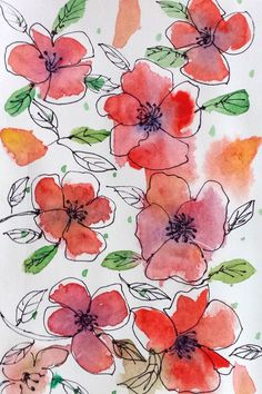 Draw with me : Easy Watercolor Flowers - Aquarell - Blumen Watercolor Water, Watercolor And Ink, Watercolor Illustration, Watercolor Flowers Tutorial, Simple Watercolor Flowers, Simple Flowers, Abstract Watercolor, Spring Flowers, Beautiful Flowers
