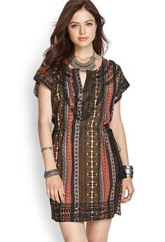 Love 21 - A woven shift dress featuring a tribal print and embroidered trim with a self-tie tasse...