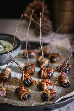 Bacon-Wrapped Prunes With Herbed Feta Dip | Community Post: 15 Delicious Finger Foods To Serve At Your New Year's Eve Party