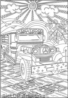 "The Philippine Jeepney, one of the country's famous transportations. Here are two coloring page versions, one without texts and another with ""Enjoy the Ride"" me House Colouring Pages, Online Coloring Pages, Coloring Pages For Kids, Coloring Books, Philippine Art, Jeepney, Printable Coloring Sheets, Filipino Art, Filipino Culture"