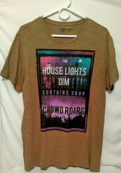 MENS EXPRESS BROWN HOUSE LIGHTS FITTED T-SHIRT LARGE L  #Express #GraphicTee