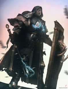 """""""Thunder Paladin"""" by Konstantinos Skenteridis - Your Daily Dose of Amazing beautiful Creativity and Digital Art - Fantasy Characters: Archers Assassins Astronauts Boners Knights Lovers Mythology Nobles Scholars Soldiers Warriors Witches Wizards High Fantasy, Fantasy Rpg, Medieval Fantasy, Fantasy Artwork, Dungeons And Dragons Characters, Dnd Characters, Fantasy Characters, Fantasy Character Design, Character Concept"""