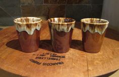 Vintage Trio of Hull Brown Drip Glaze Pottery Juice Tumblers on Etsy, $9.00