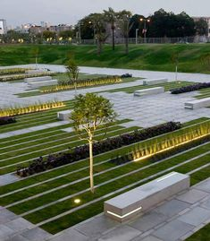 BGU campus  lighting merged with planters and seating