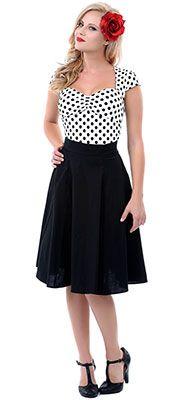 Black 1950s Style Swing Skirt $62.00 http://www.vintagedancer.com/1950s/1950s-skirts/