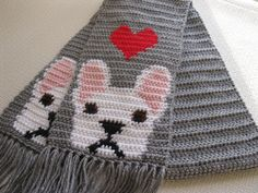 French Bulldog Scarf.  Gray crochet scarf with red hearts and bulldogs.. $38.00, via Etsy.