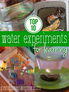 Water experiments for kids are a fun means for learning! You can take these outsides and really explore. Plus water is always a favorite for kids!