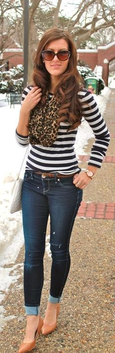 ...i never thought of pairing the leopard print with stripes, but it's cute!