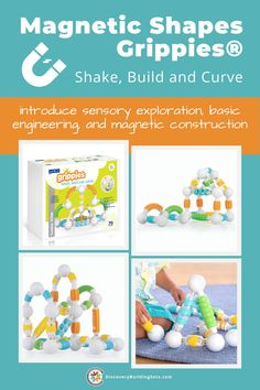 $140 - Grippies® Shake, Build and Curve, magnetic shapes combine the best parts of the Grippies family into a frustration-free STEM building set for your toddler. Magnetic building blocks are ideal for introducing young builders to sensory exploration, basic engineering, and magnetic construction. Give your toddler the power to explore, play, and create with this combination set of STEM toys for toddlers. Bring home a set today! #DiscoveryBuildingSets #magnetictoys #magneticblocks #STEMtoys Magnetic Building Blocks, Building Toys, Blocks For Toddlers, Magnetic Toys, Block Play, Interactive Toys, Gross Motor Skills, Language Development, Dramatic Play