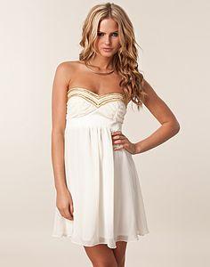 Elise Ryan/ Metal trim prom dress.