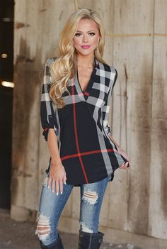 Office Hours Plaid Top - Black