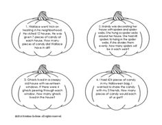 There are 16 halloween themed word problems written on pumpkin shaped cards. Print on colored card stock and laminate to make your own word problem pumpkin patch for a creative center or an interactive bulletin board. Makes a great review activity or Halloween themed center for students to practice math skills.