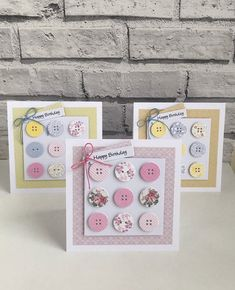 Handmade Button Birthday Card Inspiration in Various Colours Birthday Cards For Women, Handmade Birthday Cards, Happy Birthday Cards, Greeting Cards Handmade, Sewing Cards, Button Cards, Card Making Inspiration, Card Maker, Paper Cards