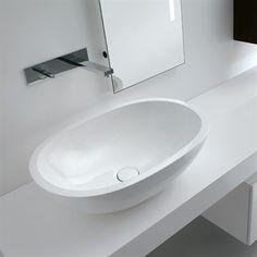 Monolith Top Oval - Super smuk oval håndvask i monolith på bordplade