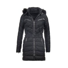 """This moto-inspired women's quilted jacket is cut for a flattering slim fit complete with waist-cinching belt. Also features exposed zips, chevron quilts to the upper body and a detachable faux fur-trimmed hood.    100% polyester outer  Detachable hood with removable faux fur trim  Barbour International badge to left arm  Back length: 35.5–38"""" 