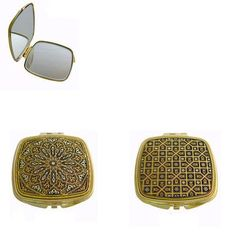 Damascene Gold Square Compact Mirror Geometric Design by Midas of Spain 8552 #MidasofToledoSpain