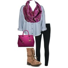 Designer Clothes, Shoes & Bags for Women Infinity Scarf Outfits, Magenta, Casual Wear, Fashion Inspiration, Shoe Bag, Lace, Polyvore, How To Wear, Collection