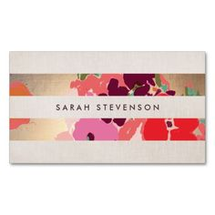Colorful Floral Gold Striped Fashion and Beauty Business Card Templates. This great business card design is available for customization. All text style, colors, sizes can be modified to fit your needs. Just click the image to learn more!