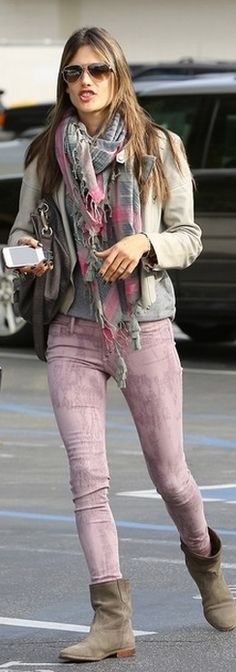 Who made Alessandra Ambrosios print scarf, suede boots, tie dye skinny jeans, and gray handbag?
