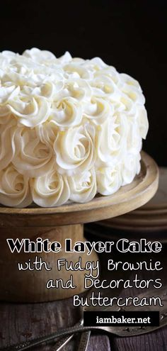 This showstopping cake could not be easier! Brownie layers perfectly compliment white cake and then are topped with a beautiful buttercream rosette. Fudge Cake, Brownie Cake, Fudge Brownies, Fun Desserts, Dessert Recipes, Cupcake Recipes, Snack Recipes, Easy Cake Decorating, Pastries