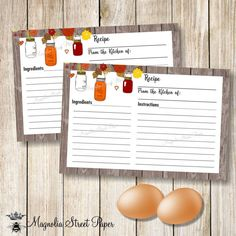 Rustic Recipe Card With Kraft Background  Bridal Shower Recipe